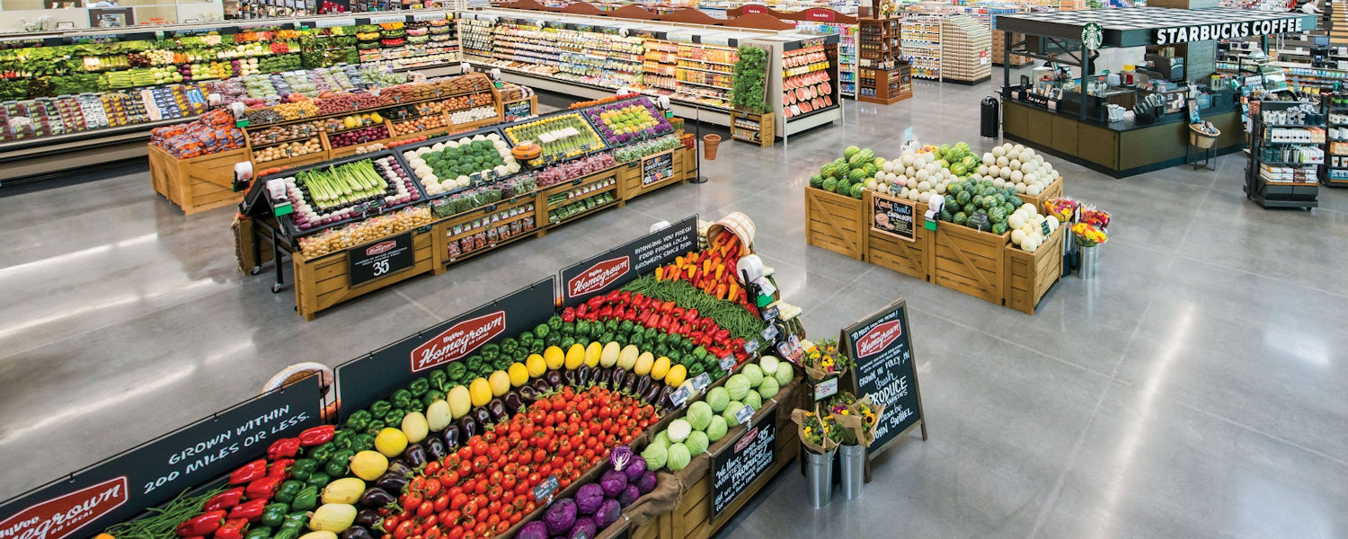 Produce displays & fixtures, orchard bins, Euro slant tables