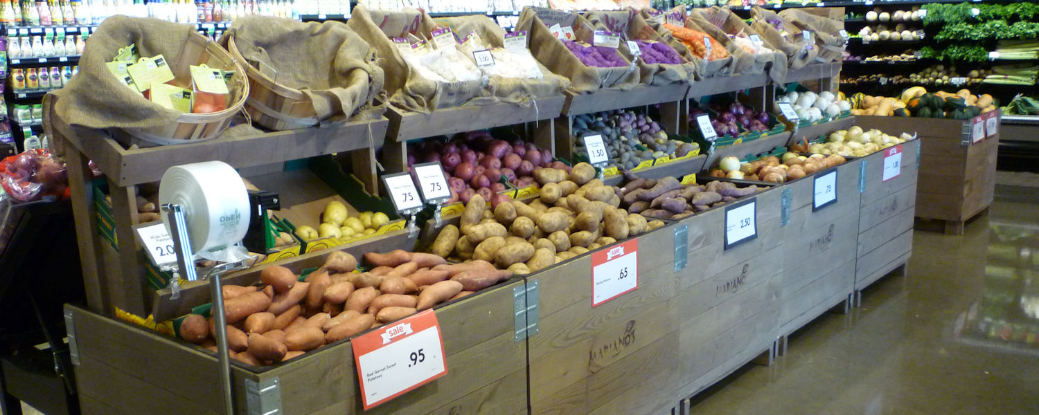 Orchard bins, produce display fixtures, grocery store merchandising fixtures